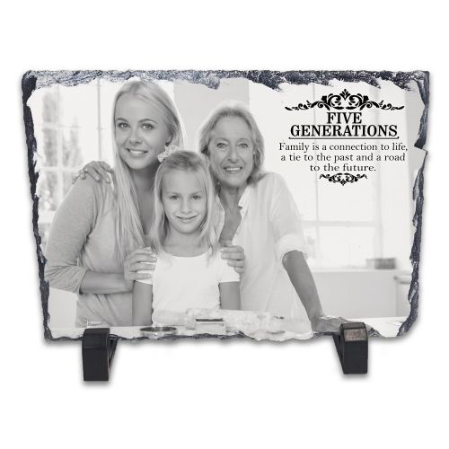 Personalised Five Generations Family Rock Slate Photo Frame - Rectangle